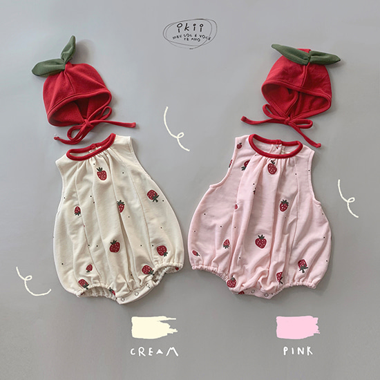 Strawberry romper + bonnet SET (딸기 롬퍼+보넷세트)